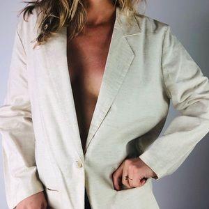 VINTAGE | Cotton Linen Single Button Tan Blazer M